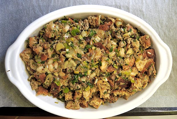 Sourdough Stuffing With Sausage, Apples, And Golden ...
